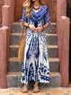 V neck Blue Swing Women Daytime Balloon Sleeve Chiffon Abstract Floral Dress