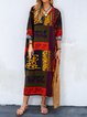V neck Multicolor Shift Women Daytime Casual Long Sleeve Printed Abstract Casual Dress