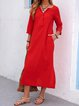 V neck  Shift Women Daily Casual Cotton  Solid Casual Dress