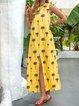 Crew Neck Women Dresses Shift Daily Leaf Printed  Dresses