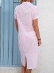 Women Summer Stripes Midi Shirt Dresses Shirt Collar  Shift Boho Cotton Dresses