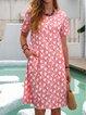 Floral Pockets Mini Dress Short Sleeve Printed Dresses