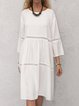 Solid Midi Dress Plus Size 3/4 Sleeve Dresses