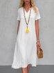 Summer Solid Midi Dress Pockets Plus Size Short Sleeve Dresses