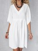 Solid Mini Dress Summer Plus Size Half Sleeve Dresses