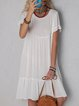 Solid Mini Dress Summer Plus Size Short Sleeve Dresses