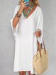 Solid Mini Dress Summer Plus Size 3/4 Sleeve V Neck Dresses