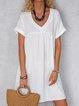 Solid Mini Dress Summer Plus Size Short Sleeve Dresses
