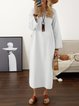 Women Daily Cotton Half Sleeve Slit Summer Dress