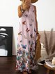 Butterfly Printed Maxi Dresses V Neck White Women Dresses Shift Daily