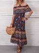 Blue Women Dresses Shift Beach Casual Floral Dresses