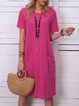 Women Pockets Short Sleeve Casual Tunic Dress