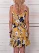 V Neck Yellow Women Dresses Shift Daily Cotton Dresses