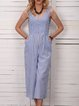 Striped Pockets Buttoned V-Neck Casual Jumpsuits