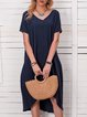 Summer Solid Mini Dress Short Sleeve Dresses