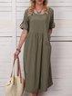 Solid Pockets Midi Dress 3/4 Sleeve Dresses