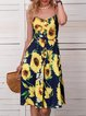 Spaghetti Midi Dress Holiday Floral Dresses