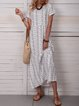 White Short Sleeve Cotton-Blend Crew Neck Dresses
