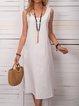Reaydy to ship Sleeveless midi linen dress with pockets, midi summer dress, loose linen dress, loose linen tunic.