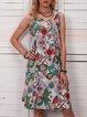 Women V-Neck Abstract Print Summer Dresses