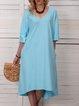 Women Pockets High Low Hem Solid Casual Dresses