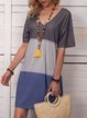 V Neck Women Dye Casual Dresses
