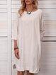 Solid Mini Dress 3/4 Sleeve Dresses