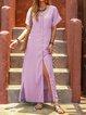 V Neck Women Dresses Beach Linen Paneled Dresses