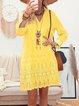 V Neck Women Dresses Shift Daily Cotton-Blend Dresses
