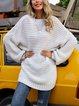 White Paneled Holiday Crew Neck Sweater