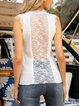 White Lace Up Cotton-Blend Sleeveless Sweater Shirts