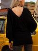 Black Casual Plain Paneled Cotton-Blend Sweater