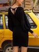 Black V Neck Cotton-Blend Paneled Casual Sweater