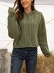 Green Solid Casual Long Sleeve Sweater