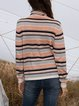 Orange Cotton-Blend Casual Striped Paneled Sweater