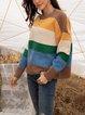 Khaki Striped Cotton-Blend Paneled Casual Sweater