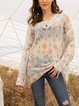 Orange Paneled Cotton-Blend Casual Sweater