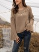 Apricot Crew Neck Cotton-Blend Solid Casual Sweater
