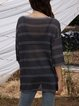 Gray Striped Crew Neck Long Sleeve Cotton-Blend Sweater