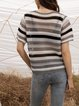 Gray Cotton-Blend Striped Short Sleeve Paneled Sweater