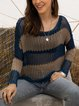 Blue Long Sleeve Striped Sweater