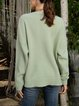 White Long Sleeve Plain Crew Neck Casual Sweater