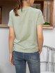 Green Crew Neck Short Sleeve Casual Shirts & Tops