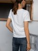 White Paneled Letter Short Sleeve Crew Neck Shirts & Tops