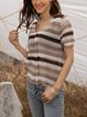 Coffee Cotton-Blend Casual Sweater