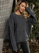 Gray Long Sleeve Cotton-Blend Casual Plain Sweater