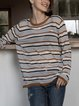 Coffee Cotton-Blend Long Sleeve Crew Neck Sweater