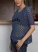 Blue Short Sleeve Crew Neck Casual Cotton-Blend Sweater
