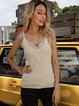White Spaghetti-Strap V Neck Plain Sweater Shirts