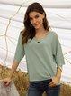 Green Cotton-Blend Paneled Crew Neck 3/4 Sleeve Sweater